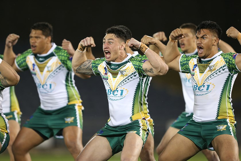 Charnze Nicoll-Klokstad does the haka for the Cook Islands in 2015.