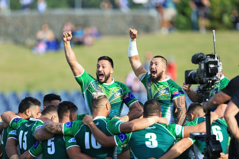 Cook Islands players perform their pre-game war cry in 2017.