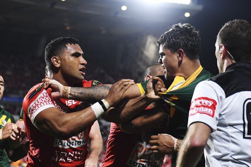 Tevita Pangai and Latrell Mitchell tangle in 2018.