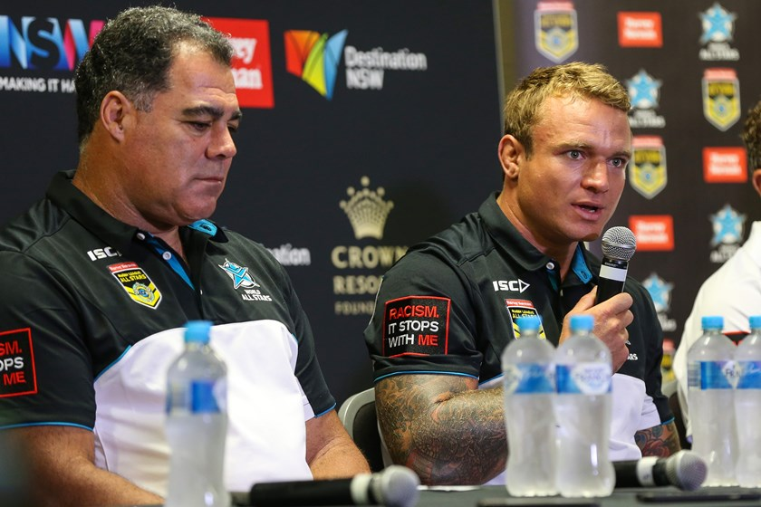 Kangaroos coach Mal Meninga with Jake Friend in 2017.