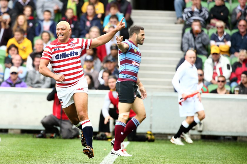 Ryan Hall takes on the Aussies at AAMI Park in 2014.