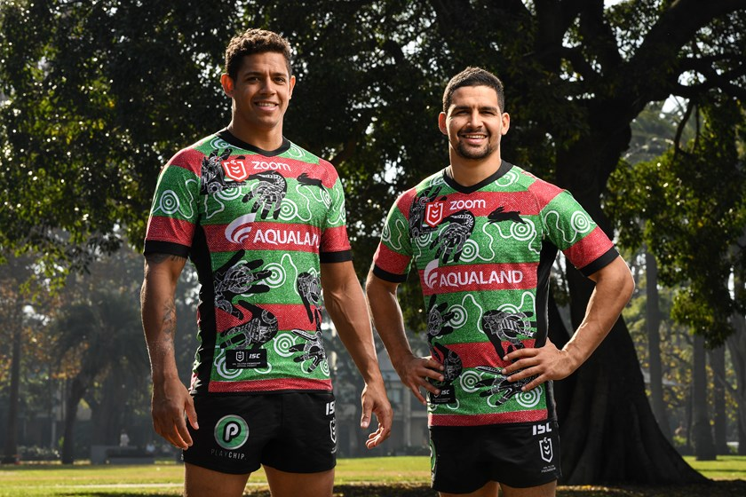 Rabbitohs stars Dane Gagai (left) and Cody Walker model the club's Indigenous Round jersey.