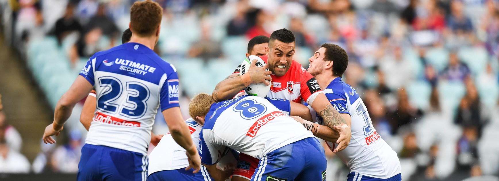 Paul Vaughan meets the Bulldogs defence.