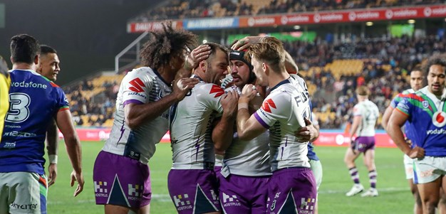 Hughes double sparks Storm to clinical win over Warriors