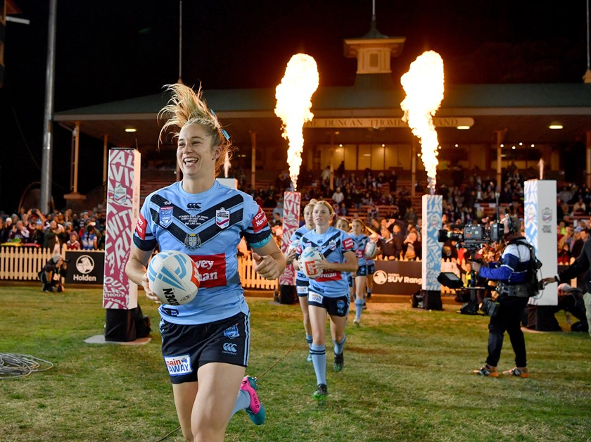 Kezie Apps leads the Blues out in the 2019 Origin clash at North Sydney.