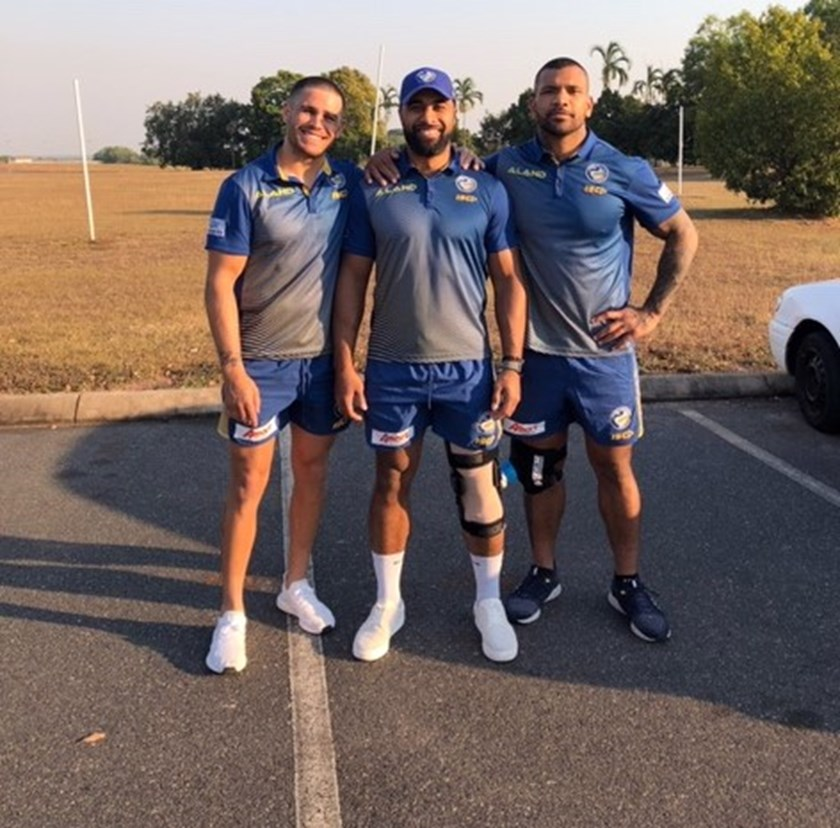 Will Smith, Michael Jennings and Manu Ma'u during the Eels trip to Darwin.