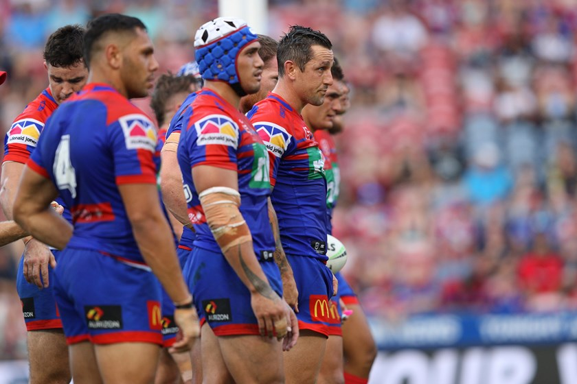 Newcastle Knights players after conceding a try.