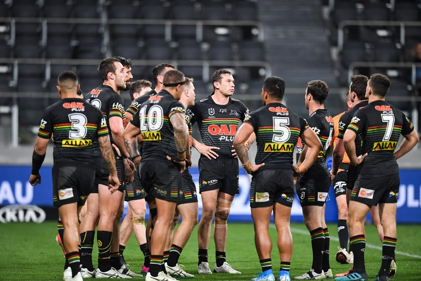 The Panthers during the loss to Canterbury.