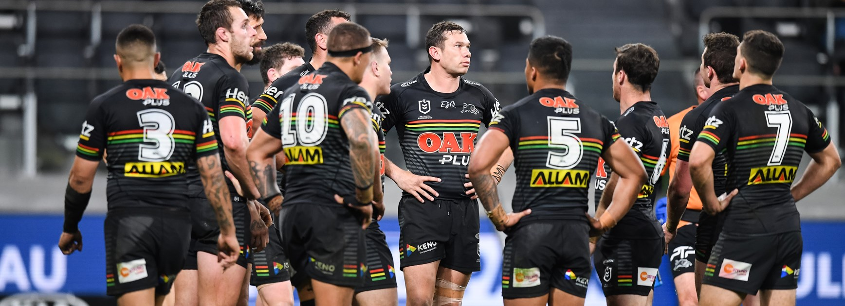 The Penrith Panthers during their loss to the Bulldogs.
