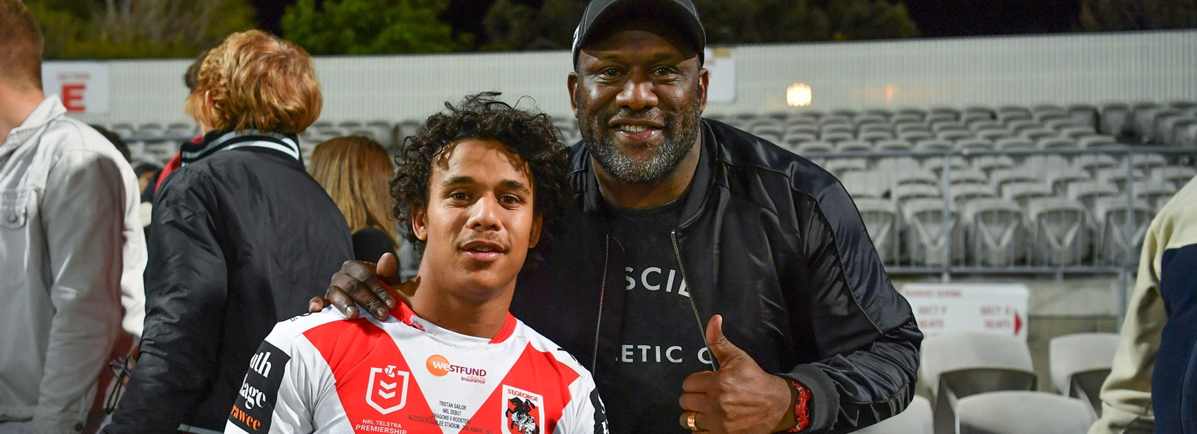 Dragons fullback Tristan Sailor and father Wendell.