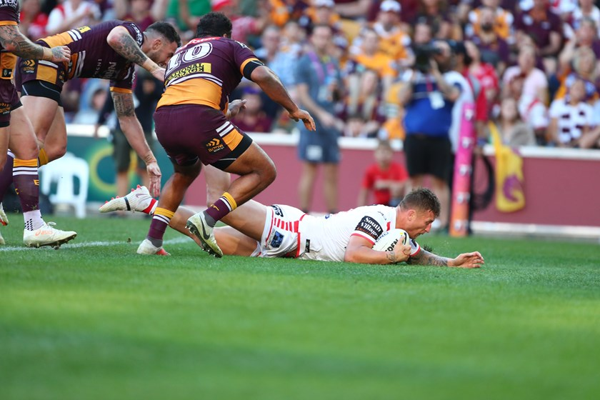 Tariq Sims scores against Brisbane in the opening week of the 2018 finals series.