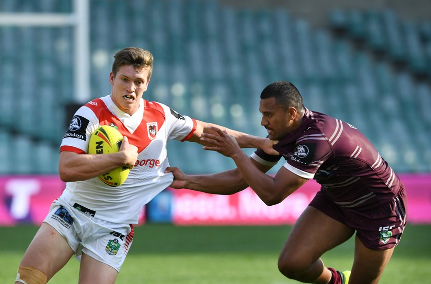 Reuben Garrick takes on Manly for the Dragons in 2017.