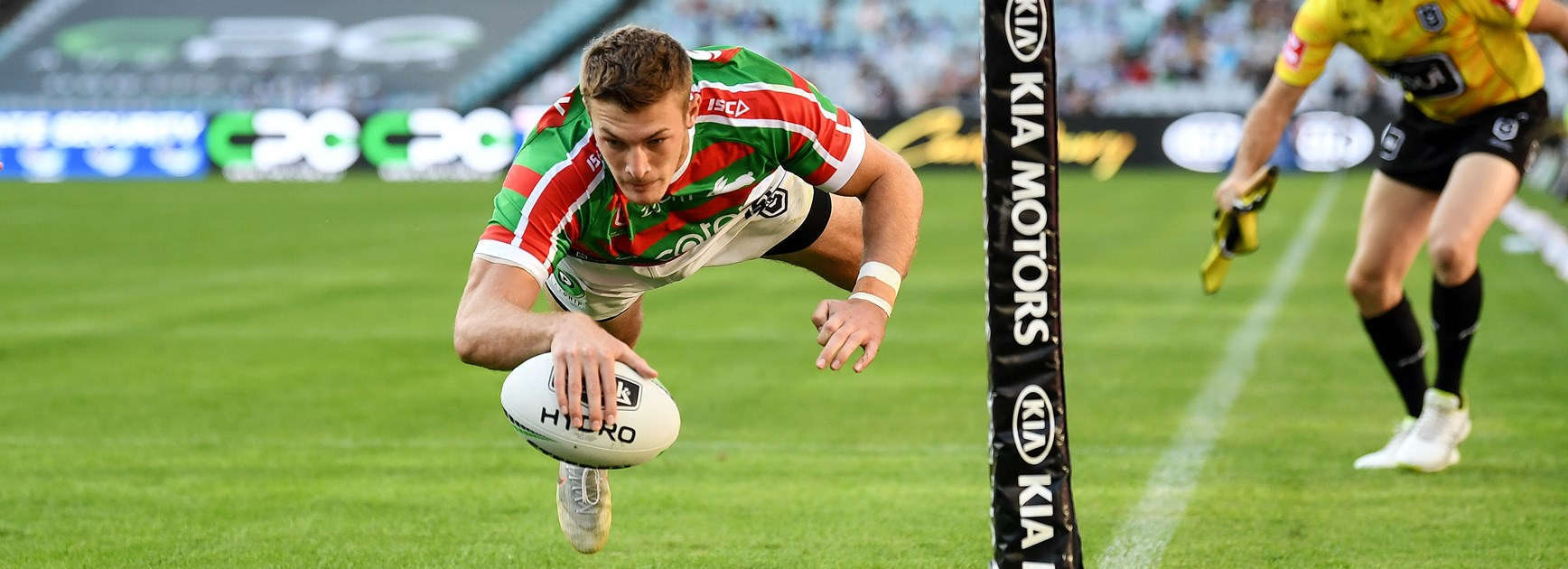Souths winger Campbell Graham scores in the corner.