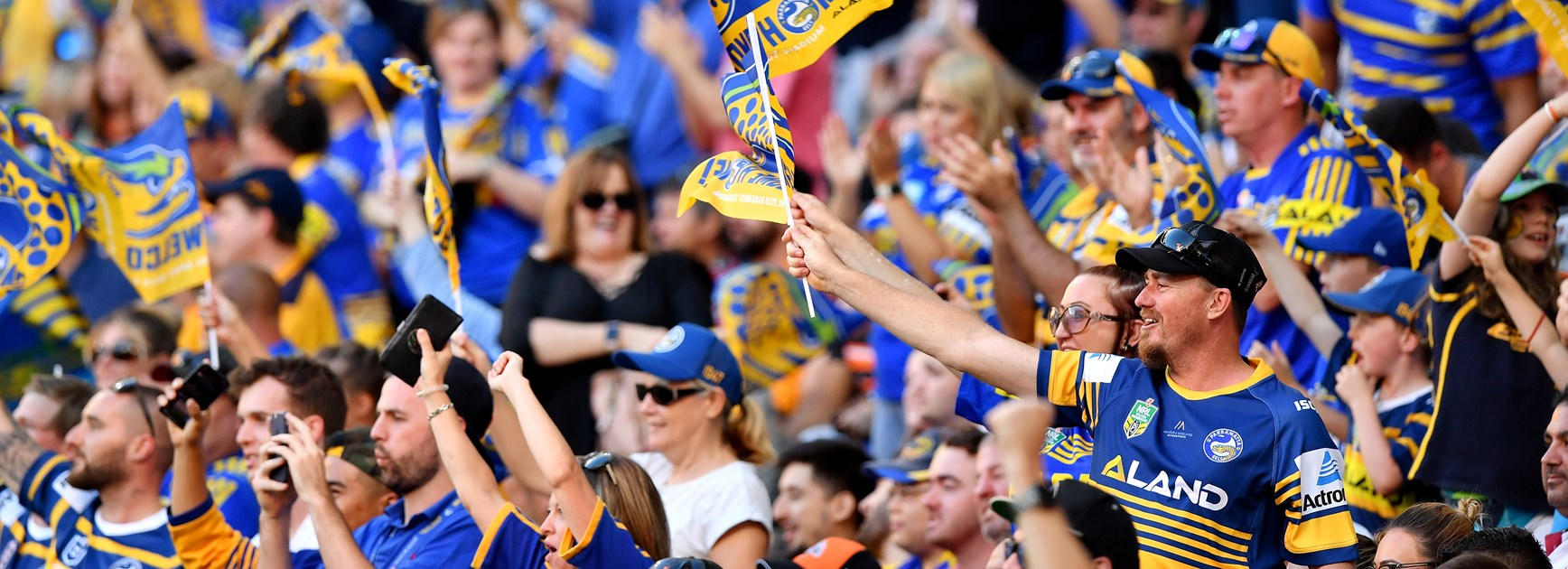 Eels fans at the opening of Bankwest Stadium.
