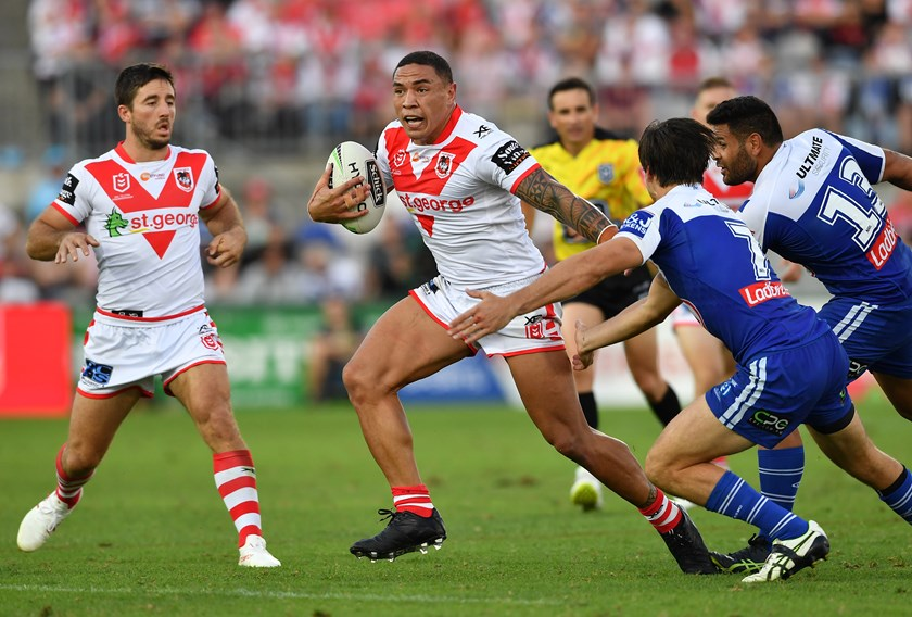 Tyson Frizell against the Bulldogs, 2019.