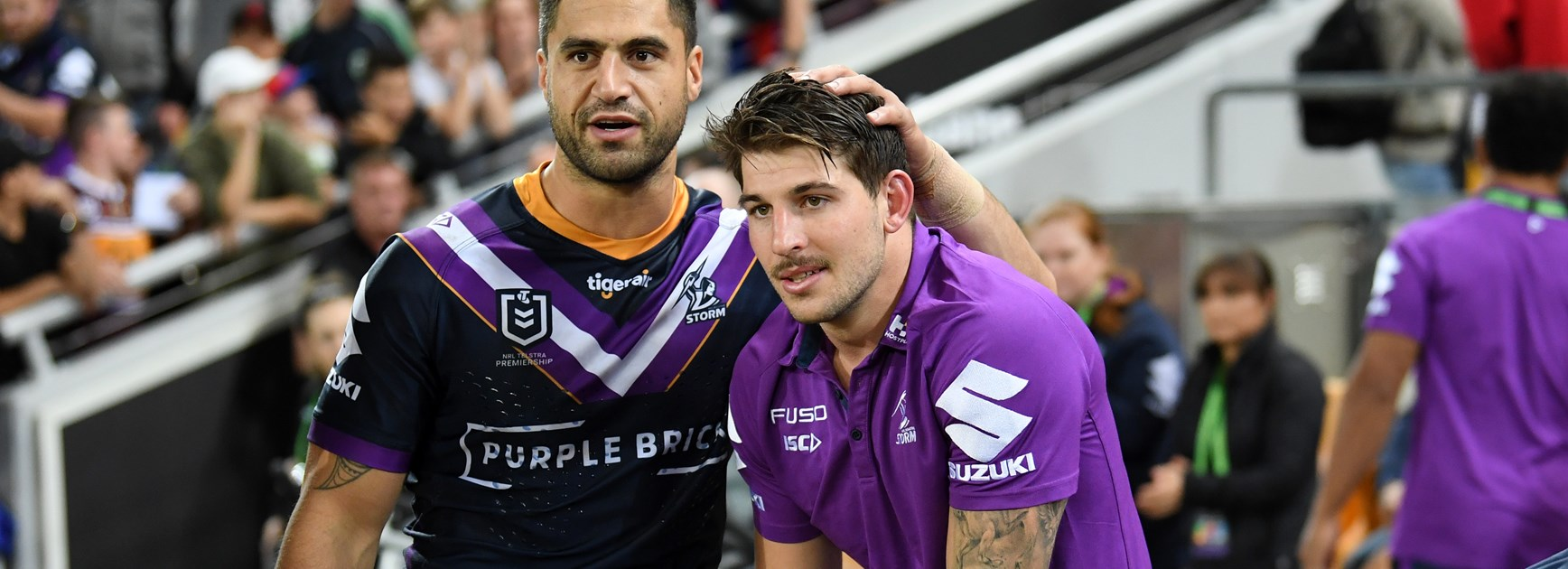 Storm centre Curtis Scott and team-mate Jesse Bromwich.