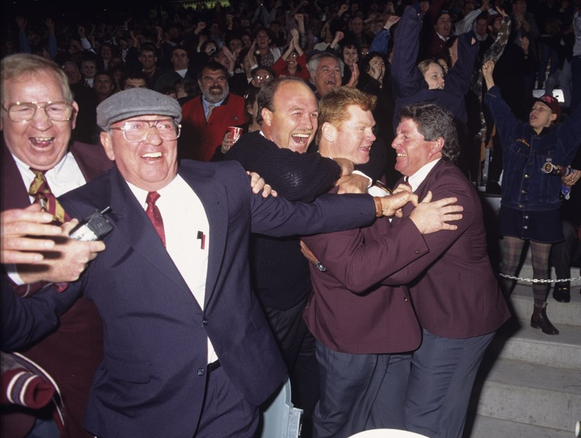 Dick 'Tosser' Turner celebrates with Wally Lewis, Paul Vautin and Chris Close in 1995.
