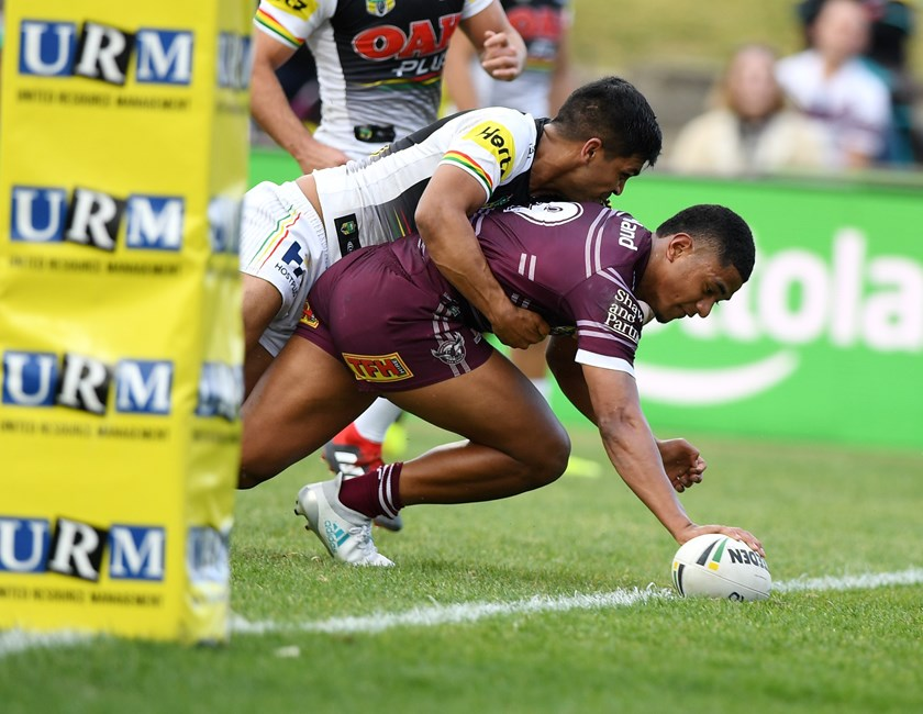 Manase Fainu scores a try for Manly against Penrith in his rookie season last year.