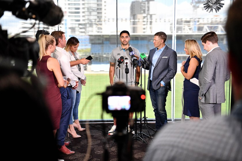 Shaun Johnson is grilled by the media at Shark Park.