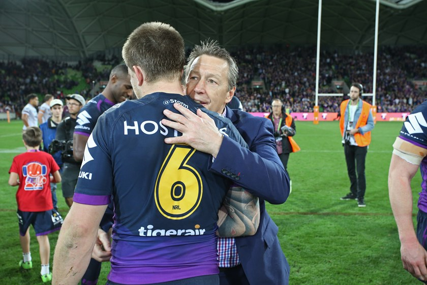 Craig Bellamy and Cameron Munster in 2017.