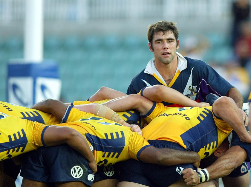 Storm hooker Cameron Smith takes on the Eels in 2004.