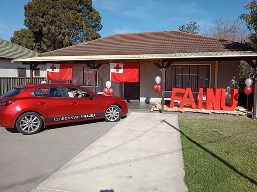 The Fainu family home dressed up to support Manase before his international debut for Tonga.