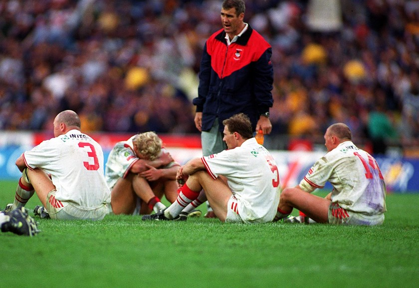 Andrew Farrar with Paul McGregor, Nathan Brown, Jamie Ainscough and Craig Fitzgibbon at the end of the 1999 grand final.