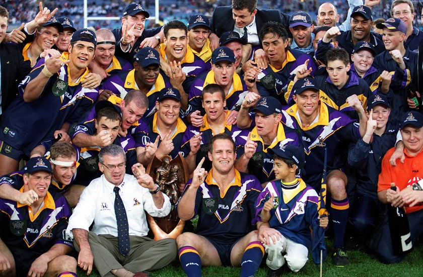 The Melbourne Storm celebrate their astounding 1999 premiership success.