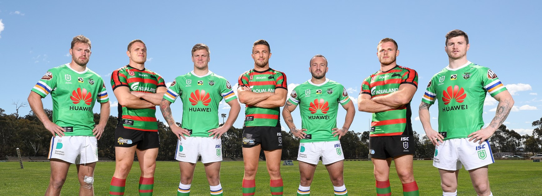 The Raiders' British quartet and South Sydney's Burgess brothers. (Photo digitally altered.)