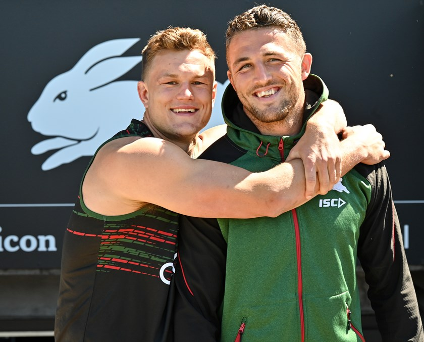 Rabbitohs forwards, and travel buddies, Liam Knight and Sam Burgess.