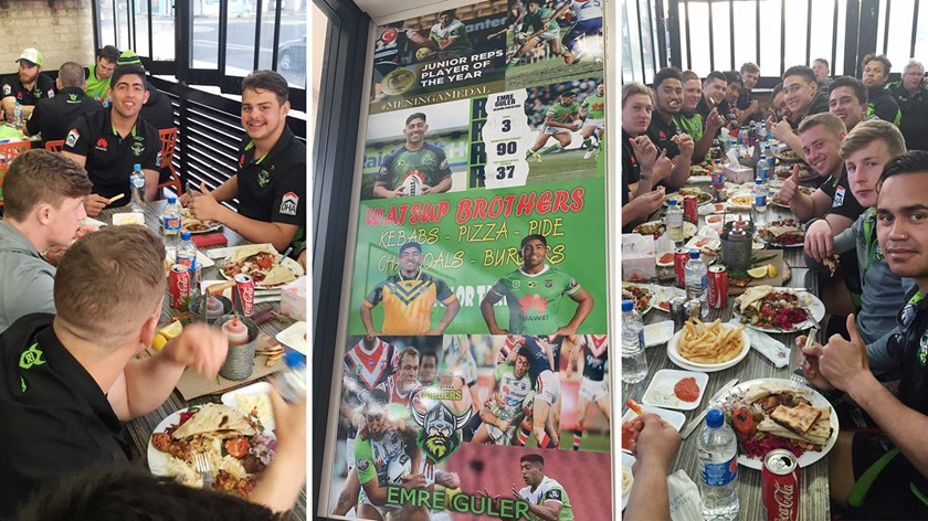 Canberra Raiders tuck in at the Guler family restaurant.