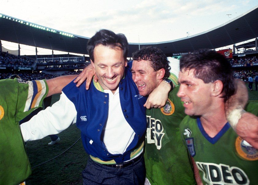 Tim Sheens and Ricky Stuart celebrate the 1990 grand final win.