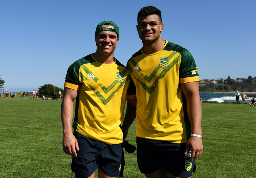 Junior Kangaroos vice captain Brodie Croft and captain David Fifita.