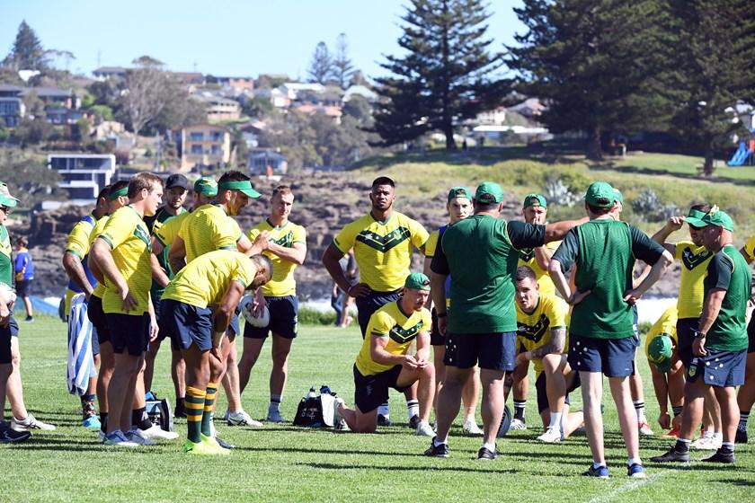 The Kangaroos in training at Kiama on Tuesday.