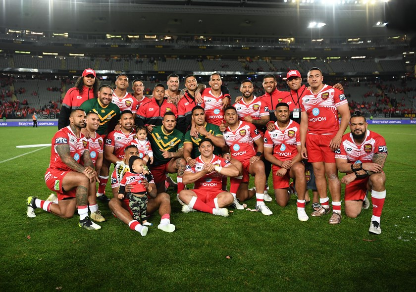 The Tonga team after beating the Kangaroos in 2019.