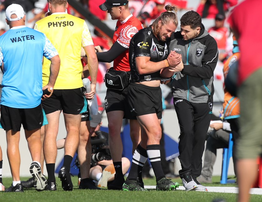 New Zealand five-eighth Kieran Foran after hurting his shoulder in November's first Test against the Lions.