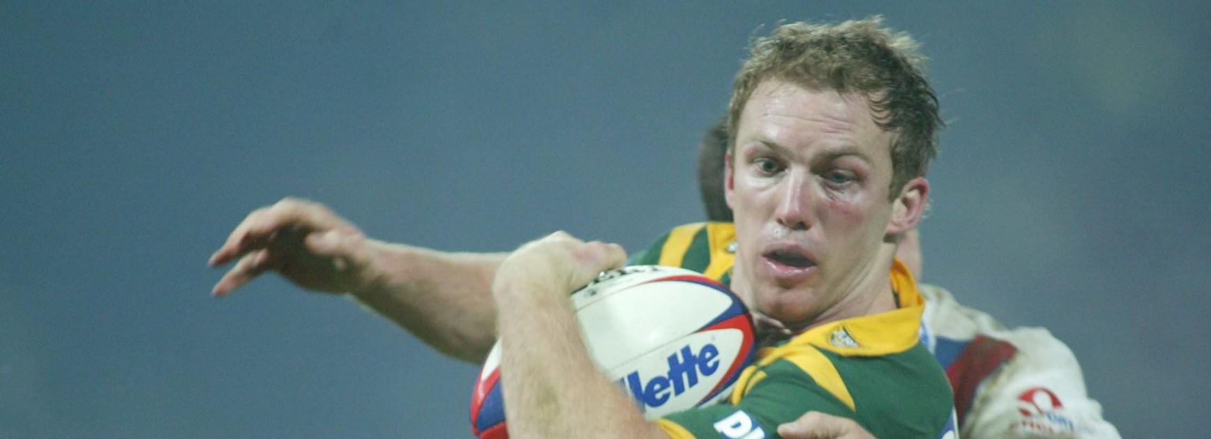Darren Lockyer playing for Australia in 2003.