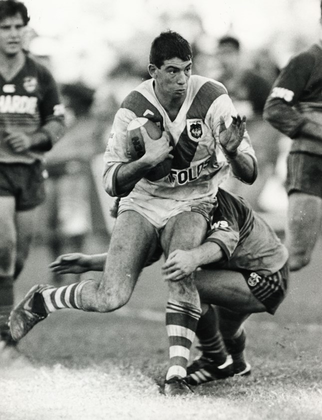 Tony Priddle takes on the Eels defence.