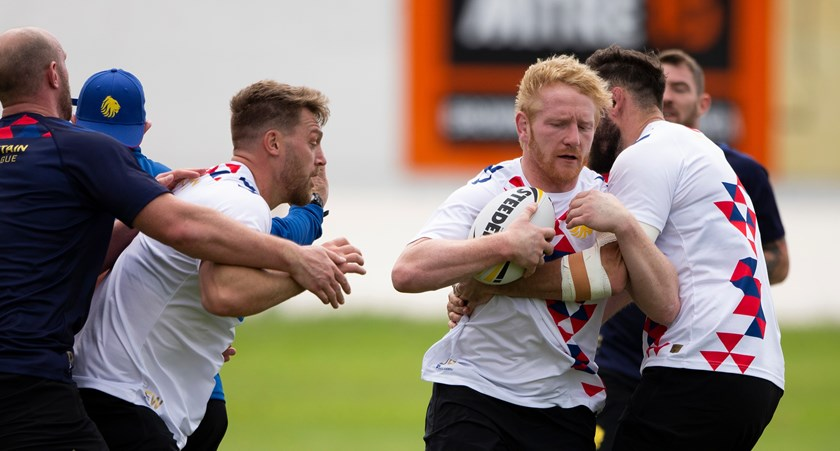 James Graham training with Great Britain.