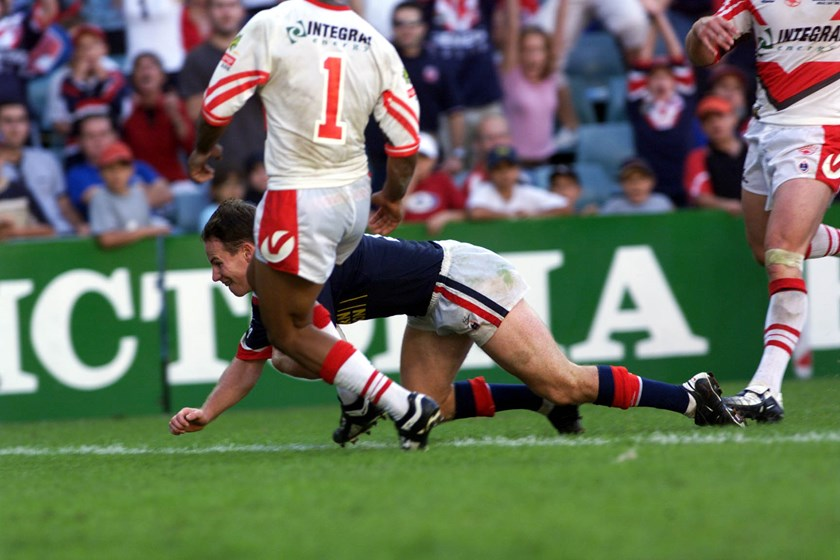 Justin Holbrook scores a try for the Roosters against St George Illawarra on Anzac Day in 2002.