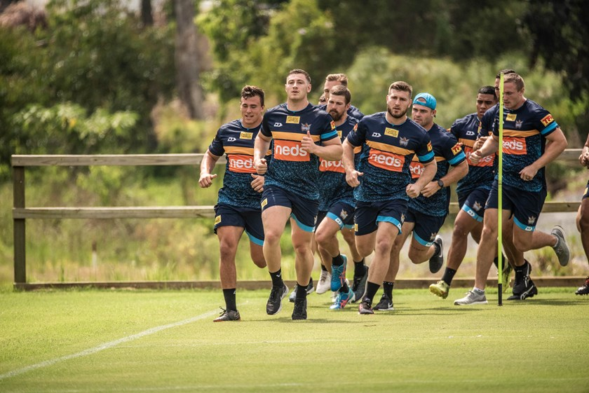 Max King leads the Titans at pre-season training.