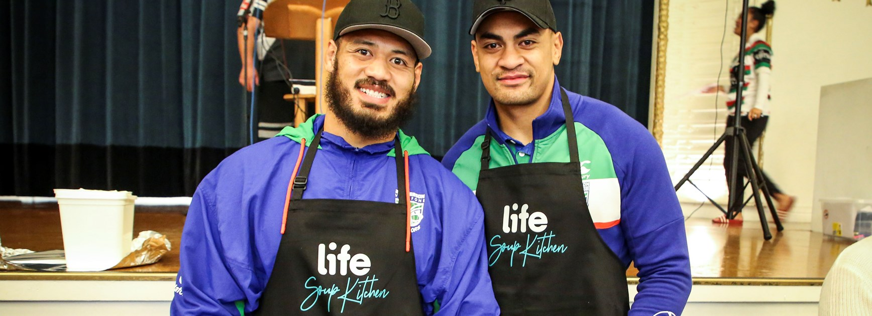 The Warriors lend a hand at the LIFE soup kitchen.