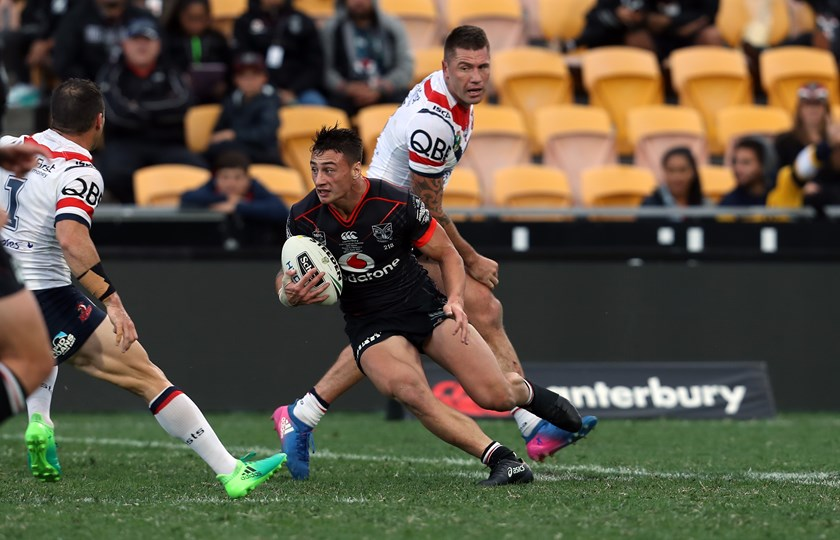 Charnze Nicoll-Klokstad makes his NRL debut for the Warriors.