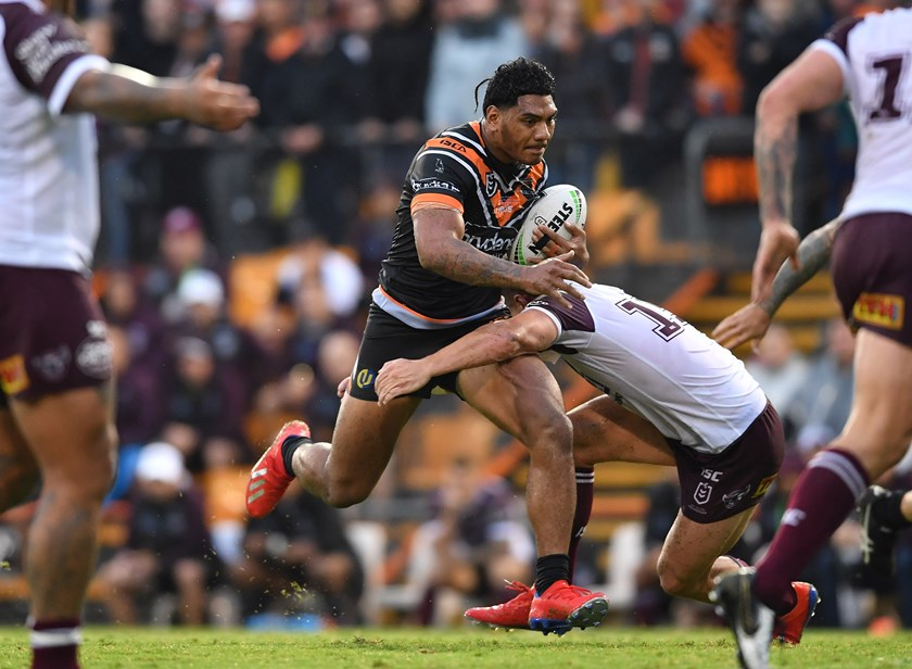 Wests Tigers forward Thomas Mikaele.