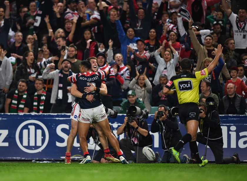 Paul Momirovski celebrates his match-winning try against South Sydney in his final game for the Roosters in 2018.