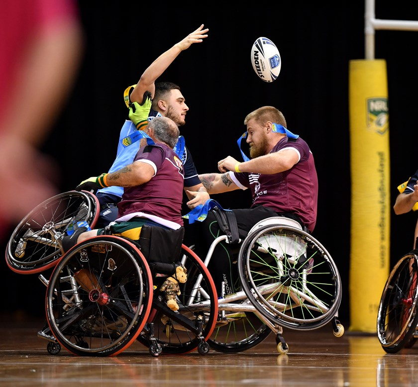 Action from the Wheelchair Rugby League State of Origin in Sydney.