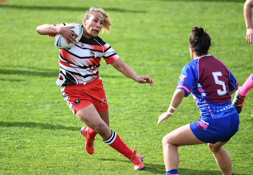 Atawhai Tupaea in action during the NZRL National Women's Rugby League Tournament Final.