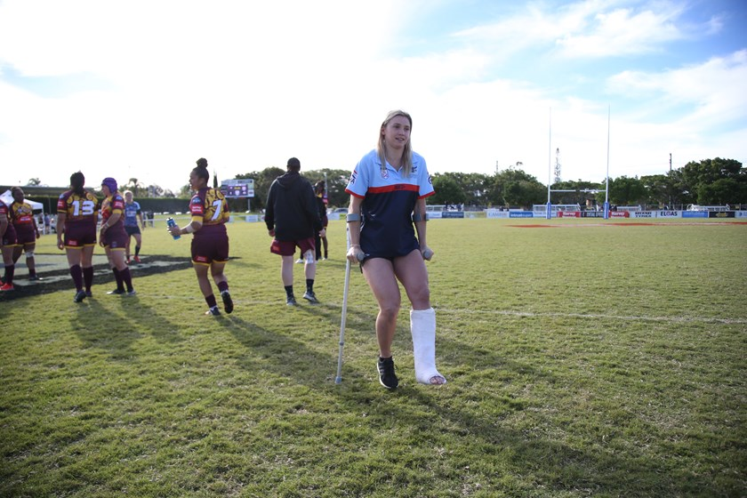 Julia Robinson badly broke her leg playing for Wests Panthers.