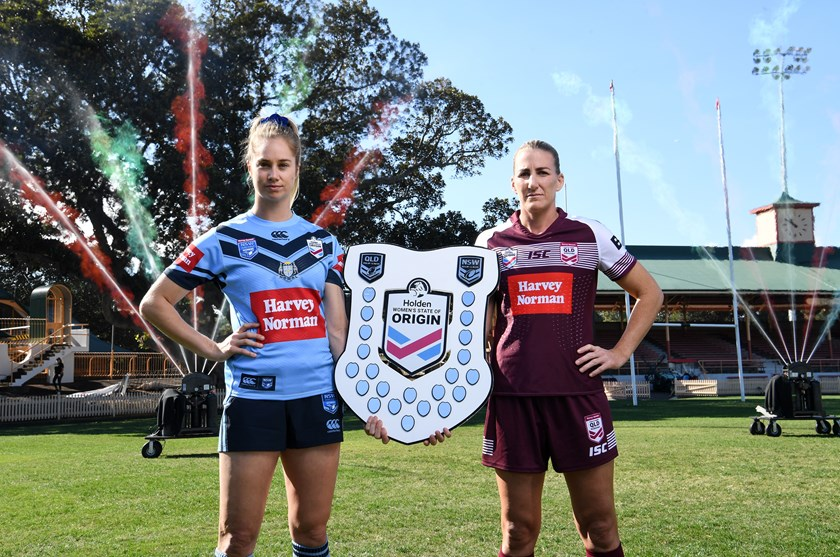 Women's State of Origin stars Kezzie Apps and Ali Brigginshaw.