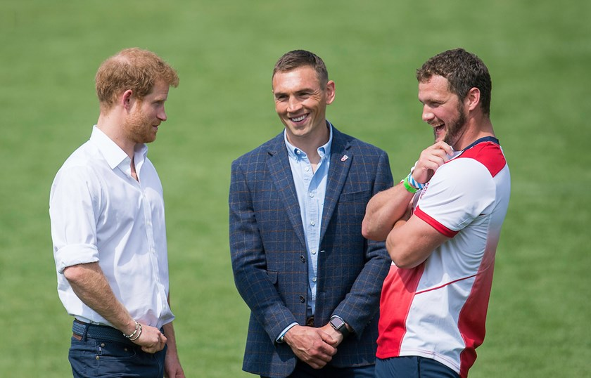 Prince Harry meets RFL representative Kevin Sinfield and England star Sean O'Loughlin.